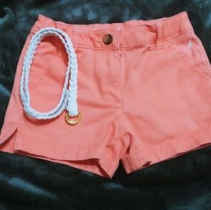 NWOT Nautica Coral Shorts with white belt